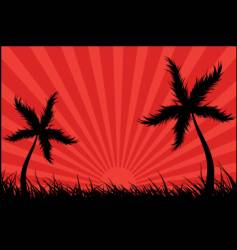 palm tree landscape vector image vector image