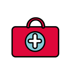 red suitcase healthcare with hospital symbol vector image vector image