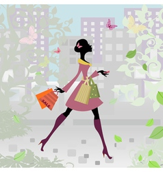 romantic city shopping girl vector image vector image