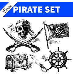 Sketch pirates set vector image