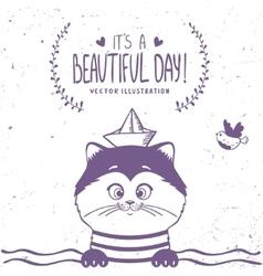 cat sailor vector image vector image