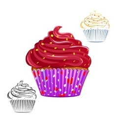 Chocolate swirl cupcake set vector image