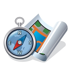 compass and map icon vector image