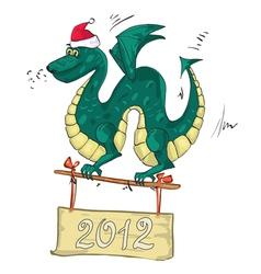 dragon santa hat vector image vector image