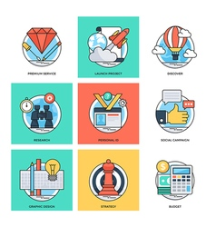 Flat color line design concepts icons 35 vector