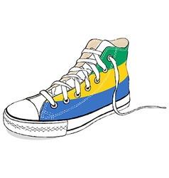 hand draw modern sport shoes with Gabon flag vector image