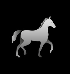 silhouette of a gray horse standing horse side vector image