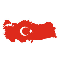 turkey map in national flag colors icon isolated vector image vector image