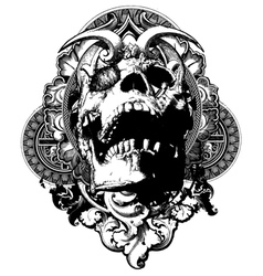 wicked skull shield illustration vector image vector image