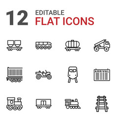 12 train icons vector image