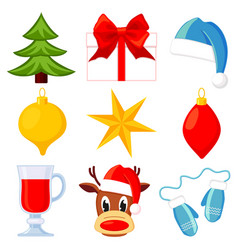 9 colorful cartoon christmas elements set vector