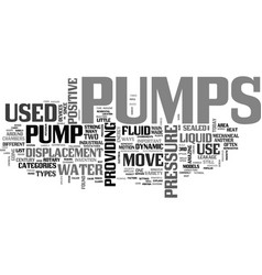 A tutorial to pumps text word cloud concept vector