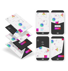 Abstract geometric ui screens 3d mockups vector