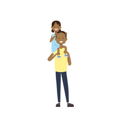 African father hold baby girl on neck full length vector