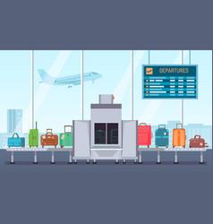 Airport baggage scanner conveyor belt with vector
