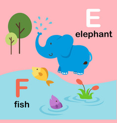 Alphabet letter f-fish e-elephant vector