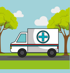 Ambulance emergency car icon vector