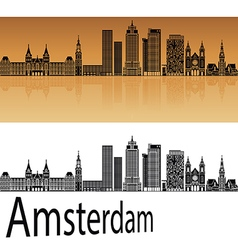 Amsterdam V2 skyline in orange vector image