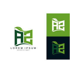 Az monogram leaf logo natural organic premium vector