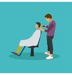 Barbershop concept in flat vector