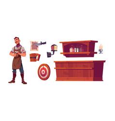 bartender and old tavern interior set vector image