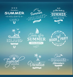 beach retro labels set on blue vector image