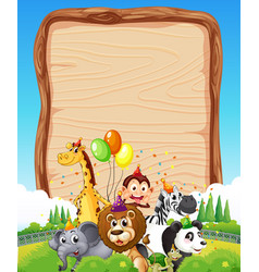 Blank wooden board template with wild animals vector