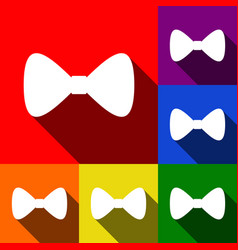 bow tie icon set of icons with flat vector image