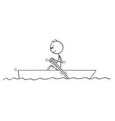 Cartoon drawing of man paddling in small boat vector