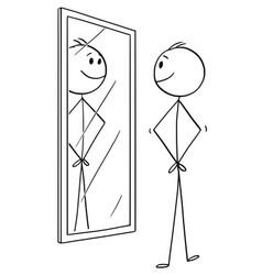 cartoon of smiling cheerful man looking at vector image