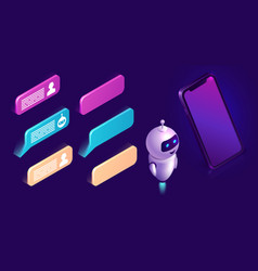 chatbot technology isometric icons interface set vector image