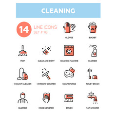 Cleaning - line design icons set vector