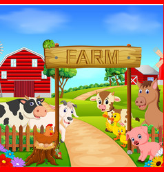collection animal in the farm vector image