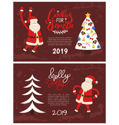 cookies santa greeting card 2019 new year holiday vector image