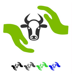 Cow protection hands flat icon vector