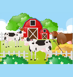 Cows in the field of the farm vector