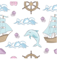 cruise tale ocean sea seamless pattern vector image