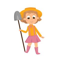 cute girl standing with shovel little kid farmer vector image