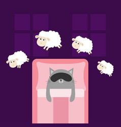 Cute gray cat sleeping mask jumping sheeps cant vector