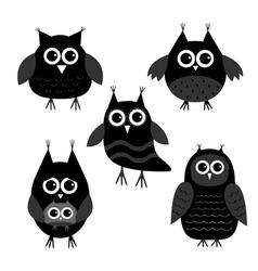 Cute owl set Big eyes Black icons on white Baby vector