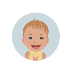 cute tongue out baby emoticon smiling child icon vector image