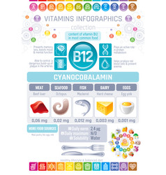 Cyanocobalamin vitamin b12 rich food icons vector