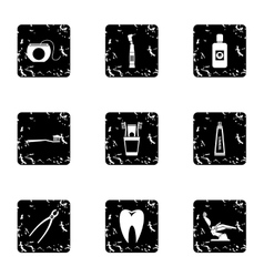 Dentistry icons set grunge style vector