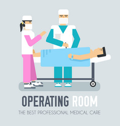 Doctor with nurse operate on a patient flat vector