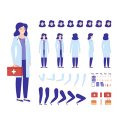Doctor woman character constructor for animation vector