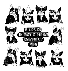 Dog French group bulldog home sign frame poster vector image
