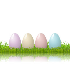 easter eggs in grass on a white background vector image