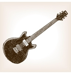 Electric guitar hand drawn sketch style vector image