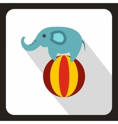 Elephant balancing on a ball icon flat style vector image