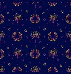 fireworks festive pyrotechnic and stars seamless vector image